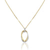 14K Two tone double oval pendant necklace