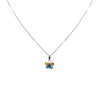 14K White Gold Butterfly Pendant Necklace With Blue Topaz And Citrine