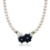 Pearl necklace with black onyx and mother of pearl