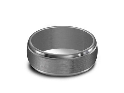 Stainless Steel Wedding Band - Brushed Polished - Gray Gunmetal - Engagement Ring - Ridged Edges - Comfort Fit  7mm - Vantani Wedding Bands