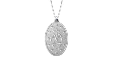 925 STERLING SILVER 9x13MM OVAL MARY MEDAL