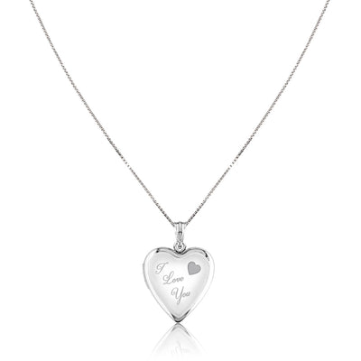 "Sterling silver "" i love you"" heart locket necklace"