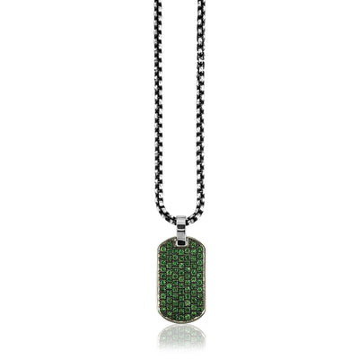 Sterling Silver dog tag id with green tsavorite on jumbo box chain 20""