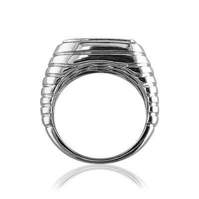 Sterling silver square ring with black spinel