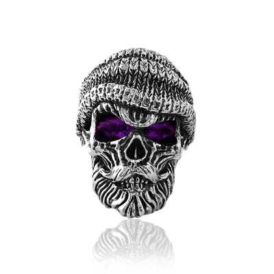 Sterling silver skull ring with amethyst