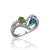 Sterling silver ring with cz's peridot and blue topaz