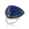 Sterling silver triangle lapiz ring with blue sapphire's