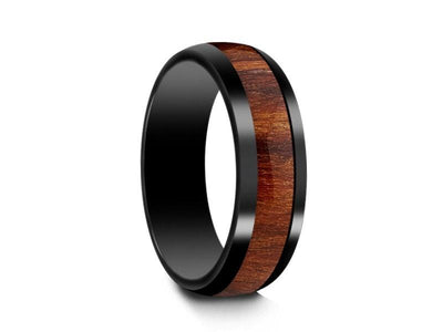 HAWAIIAN Koa Wood Inlay Black Ceramic Ring - Ceramic Wedding Band - 5th. Anniversary - Dome Shaped - Engagement Ring - Comfort Fit  6mm - Vantani Wedding Bands