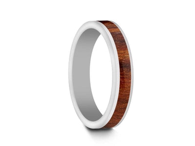 HAWAIIAN Koa Wood Inlay White Ceramic Ring - Ceramic Wedding Band - 5th. Anniversary - Flat Shaped - Engagement Ring - Comfort Fit  4mm - Vantani Wedding Bands