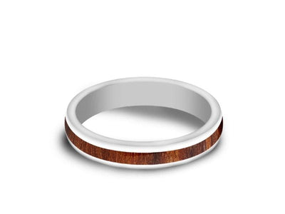 HAWAIIAN Koa Wood Inlay White Ceramic Ring - Ceramic Wedding Band - 5th. Anniversary - Dome Shaped - Engagement Ring - Comfort Fit  4mm - Vantani Wedding Bands