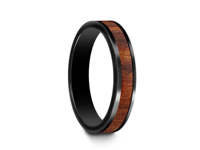 HAWAIIAN Koa Wood Inlay Black Ceramic Band - Ceramic Wedding Band - 5th. Anniversary - Engagement Ring - Flat Shaped  - Comfort Fit  4mm - Vantani Wedding Bands