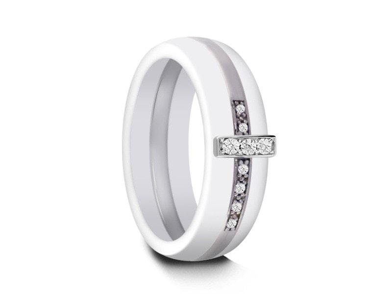 6mm White Ceramic Wedding Band Dome And Silver Cz Cross Inlay