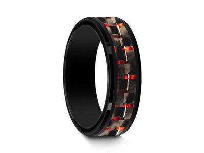 Black Ceramic Ring With Red Carbon Fiber Inlay - Red Ceramic Ring - Wedding Band - Ridged Edges - Comfort  Fit  6mm - Vantani Wedding Bands
