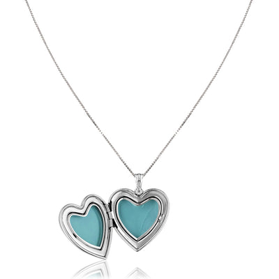 Sterling silver quinceanera heart locket with enamel