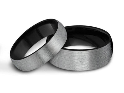 Tungsten Matching Wedding Band Set - Matching Bands - His/Hers - Engagement Ring Set - Two Tone Bands - Dome Shaped - Comfort Fit 6mm/8mm - Vantani Wedding Bands