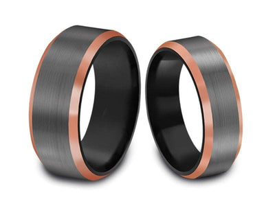 6MM/8MM BRUSHED GRAY GUNMETAL Tungsten Wedding Band Set ROSE GOLD EDGES AND  BLACK INTERIOR