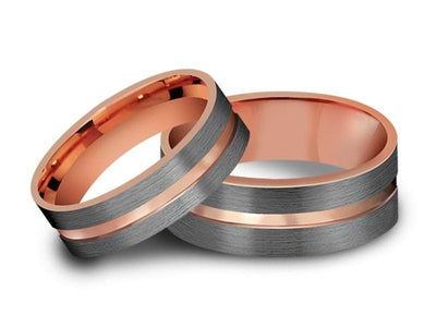 Tungsten Matching Wedding Band Set - Matching Bands - His/Hers - Engagement Ring Set - Two Tone Bands - Flat Shaped - Comfort Fit  6mm/8mm - Vantani Wedding Bands