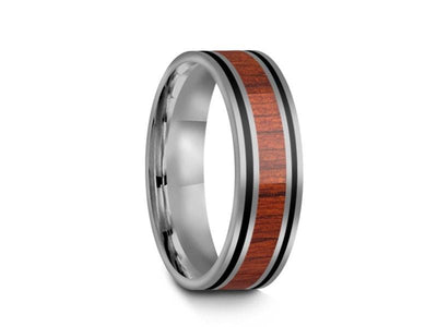 HAWAIIAN Koa Wood Inlay Tungsten Carbide Ring - Koa Wood Wedding Band - Engagement Ring - Flat Shaped - Comfort Fit  6mm - Vantani Wedding Bands