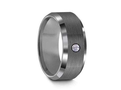 Brushed Tungsten Wedding Band with CZ-  Gunmetal - Engagement Ring - Beveled Shaped - Comfort Fit  8mm - Vantani Wedding Bands
