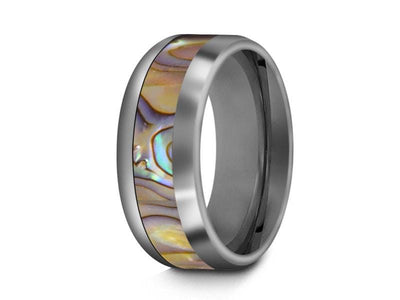 Abalone Shell Tungsten Carbide Wedding Ring - Abalone Inlay Band - Shell Ring - Engagement Band - Dome Shaped - Comfort Fit  8mm - Vantani Wedding Bands