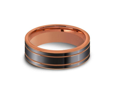 High Polish Rose Gold Tungsten Wedding Band - Rose Gold Plated Inlay - Engagement Ring - Two Tone - Flat Shaped - Comfort Fit  6mm - Vantani Wedding Bands