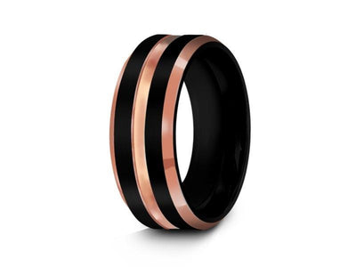 Black Tungsten Wedding Band - Brushed and Polished Ring - Rose Gold Inlay - Two Tone - Engagement Band - Beveled Shaped - Comfort Fit  8mm - Vantani Wedding Bands