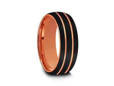 Rose Gold Tungsten Wedding Band - Black Brushed Ring - Engagement Band - Two Tone - Dome Shaped - Comfort Fit  8mm - Vantani Wedding Bands