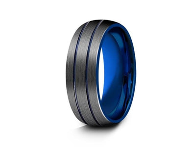 Blue Gunmetal Tungsten Wedding Band - Two Tone - Brushed Polished - Engagement Band - Dome Shaped- Comfort Fit  8mm - Vantani Wedding Bands