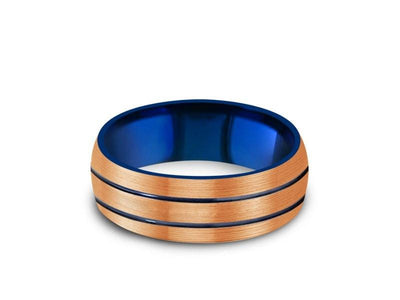 Rose Gold & Blue Tungsten Wedding Band - Brushed Polished - Engagement Ring - Two Tone - Dome Shaped - Comfort Fit   8mm - Vantani Wedding Bands