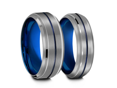 6MM/8MM GRAY TUNGSTEN WEDDING BAND SET BLUE CENTER AND BLUE INTERIOR