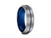 6MM GRAY TUNGSTEN WEDDING BAND BLUE CENTER AND BLUE INTERIOR