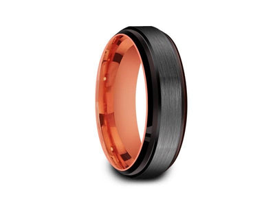 Brushed Tungsten Wedding Band - Rose Gold Plated Inlay - Engagement Ring - Ridged Edges - Comfort Fit  6mm - Vantani Wedding Bands