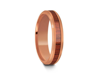 HAWAIIAN Koa Wood Inlay Tungsten Carbide Rose Gold Ring - Koa Wood Wedding Band - Engagement Ring - Beveled Shaped - Comfort Fit  4mm - Vantani Wedding Bands