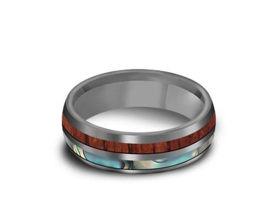 HAWAIIAN Koa Wood & Abalone Inlay Tungsten Ring - Koa Wood Wedding Band - Shell Inlay Ring - Engagement Band - Dome Shaped - Comfort Fit  6mm - Vantani Wedding Bands
