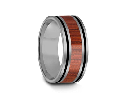 HAWAIIAN Koa Wood Inlay Tungsten Carbide Ring - Koa Wood Wedding Band - Engagement Ring - Flat Shaped - Comfort Fit  8mm - Vantani Wedding Bands