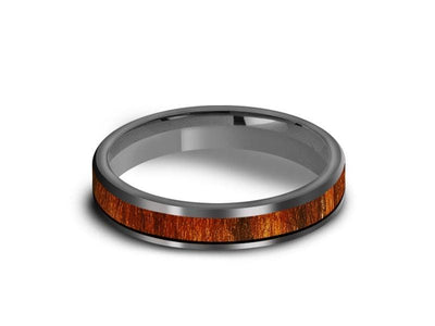 HAWAIIAN Koa Wood Inlay Tungsten Carbide Ring - Koa Wood Wedding Band - Engagement Ring - Flat Shaped - Comfort Fit  4mm - Vantani Wedding Bands