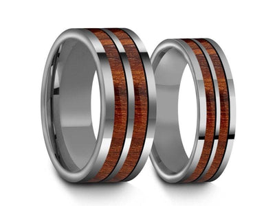Tungsten Matching Wedding Band Set - Hawaiian Koa Wood Matching Bands - His/Hers- Engagement Ring Set- Two Tone Bands - Flat Shaped - Comfort Fit  6mm/8mm - Vantani Wedding Bands