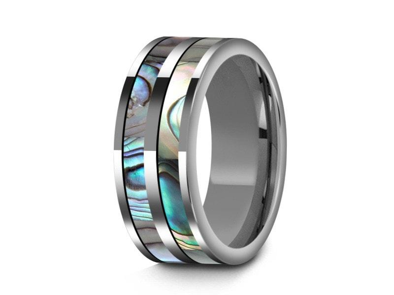 8mm Abalone Shell Tungsten Wedding Band Flat And Gray Interior