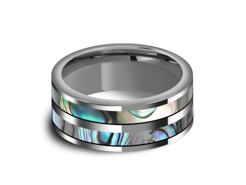 4mm Lifetime Size Exchanges Personalized Engraved Flat Mother of Pearl Sea Shell Inlay Tungsten Carbide Ring