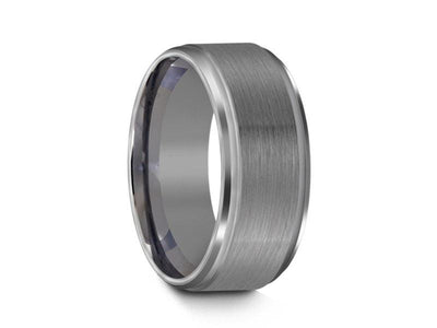 Brushed and Polished Tungsten Wedding Band - Gray Gunmetal - Engagement Ring - Ridged Edges - Comfort Fit  8mm - Vantani Wedding Bands