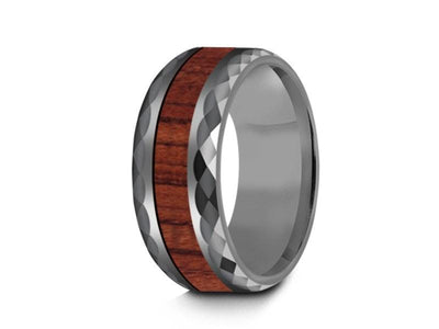 HAWAIIAN Koa Wood Inlay Tungsten Carbide Ring - Koa Wood Wedding Band - Engagement Ring - Beveled Cutting Shaped - Comfort Fit  8mm - Vantani Wedding Bands