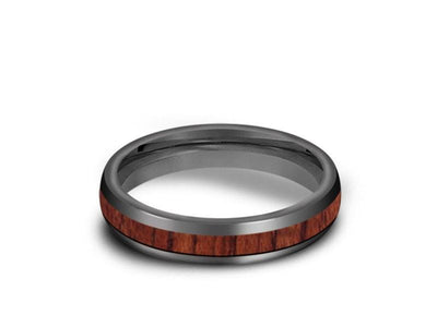HAWAIIAN Koa Wood Inlay Tungsten Carbide Ring - Koa Wood Wedding Band - Engagement Ring - Dome Shaped - Comfort Fit  4mm - Vantani Wedding Bands