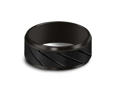 Brushed Black Tungsten Wedding Band - Engagement Ring - Anniversary - Ridged Shaped - Comfort Fit  8mm - Vantani Wedding Bands