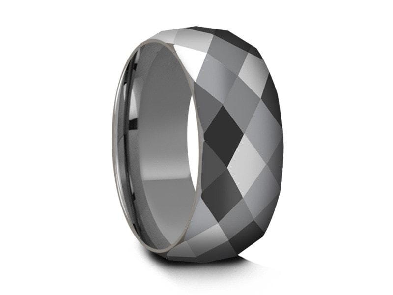 ed1791189646 Men s Tungsten Wedding Rings - Multi Faceted Wedding Band - Engagement Ring  - Dome Shaped -