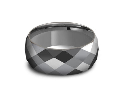 Men's Tungsten Wedding Rings - Multi Faceted Wedding Band - Engagement Ring - Dome Shaped - Comfort Fit  8mm - Vantani Wedding Bands