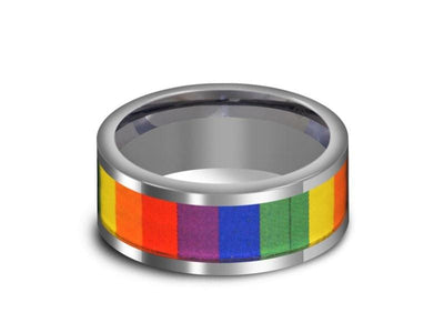 Rainbow Pride Tungsten Wedding Band - High Polish - Engagement Ring - Flat Shaped - Comfort Fit  8mm - Vantani Wedding Bands