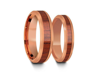 Tungsten Matching Wedding Band Set - Hawaiian Koa Wood Matching Bands - His/Hers - Engagement Ring Set - Two Tone Bands - Beveled Shaped - Comfort Fit  4mm/6mm - Vantani Wedding Bands