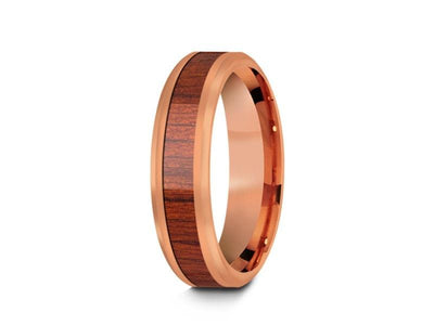HAWAIIAN Koa Wood Inlay Tungsten Carbide Rose Gold Ring - Koa Wood Wedding Band - Engagement Ring - Beveled Shaped - Comfort Fit  6mm - Vantani Wedding Bands