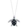 14K White Gold Sea Turtle (Honu) Diamond Necklace