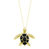 14K Yellow Gold Sea Turtle (Honu) Diamond Necklace